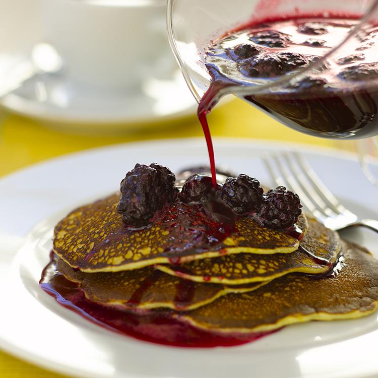 Weekend Brunch: Corn Pancakes with Blackberry Sauce