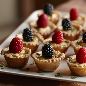 Great Holiday Appetizer: Savory Cheese Tartlets with Herbed Berries