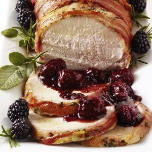 Pancetta-Wrapped Roast Pork with Blackberry Sage Sauce