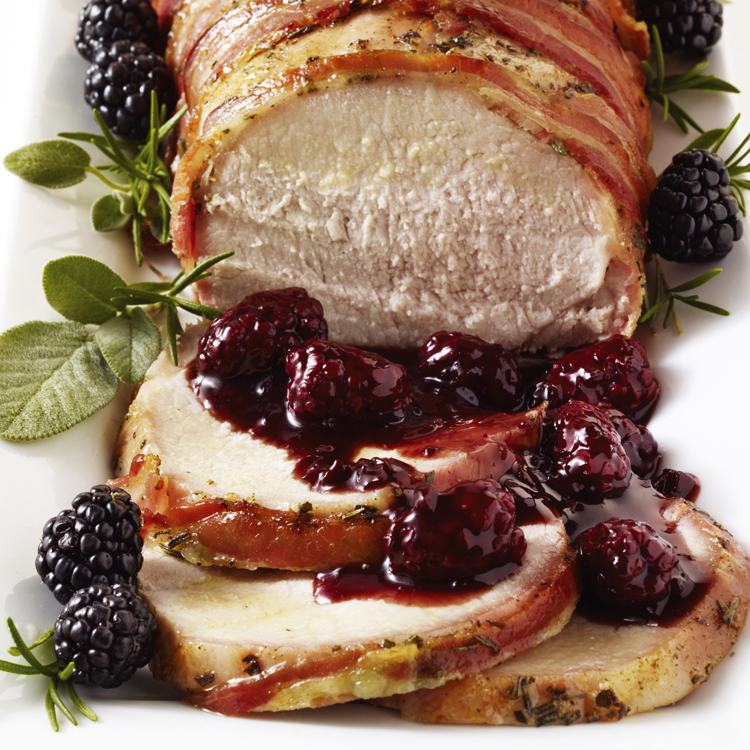 Pancetta-Wrapped Roast Pork with Blackberry Sage Sauce