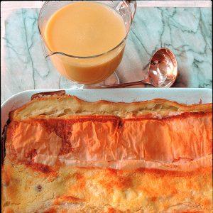 Warm Cheese Strudel with Vanilla Custard