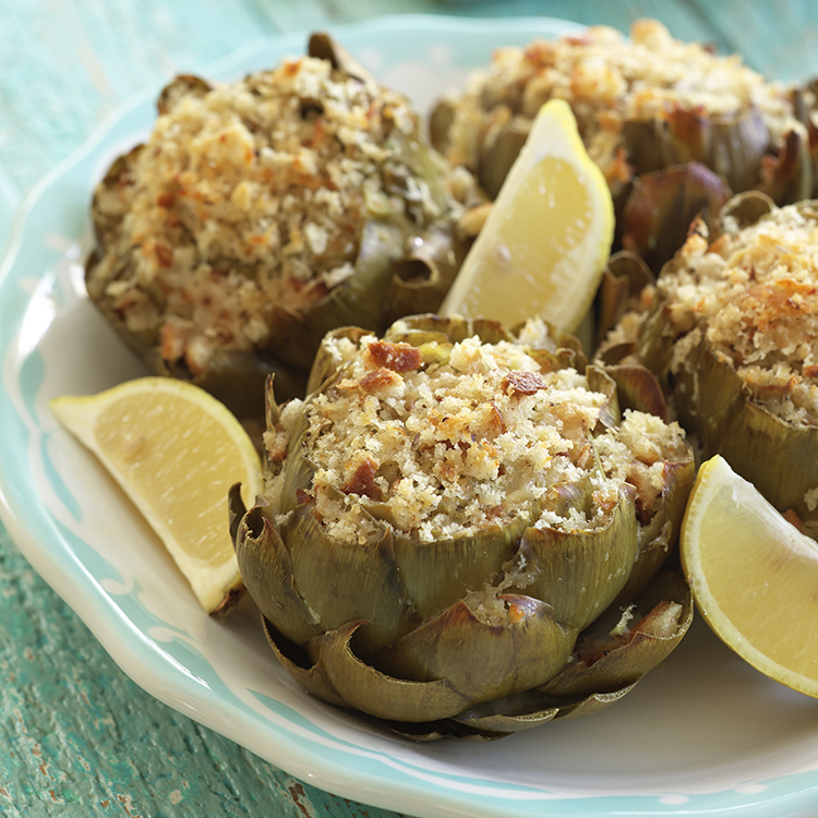 Stuffed Artichokes with Romano and Oregano